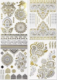 BMC 4 Sheet Set Bling Metallic Gold Silver India Inspired Temporary Body Tattoos