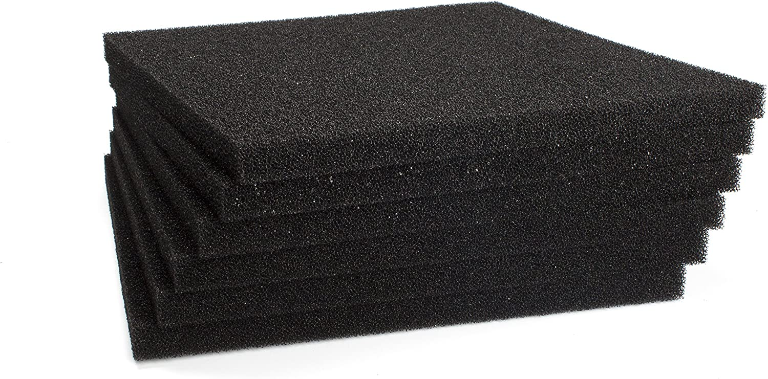LTWHOME Black Foam Filter Pad Fit for Pondmaster Danner PM 1000 and PM 2000(Pack of 6)