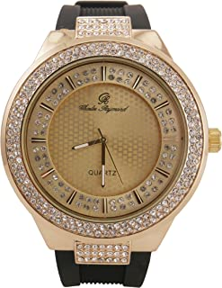 Best Hip Hop Rubber Band Luxurious Bling Bling Fashion Style Iced Out Watch with Crafted Double Dial Iced Out Look - 8623 Black Gold