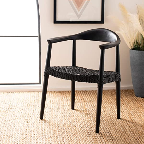 Safavieh ACH1003D Home Collection Juneau Leather Woven Black Accent Chair