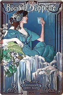 BOMBAY Blechschild Gin Bombay Sapphire, hochwertig geprägtes Retro Jugendstil Werbeschild, Wandschild 30 x 20 cm