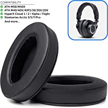 Upgraded Replacement Ear Pads for Audio Technica ATH M50X - Also Compatible with M50XBT / M50 / M40X / M40 / Turtle Beach/HyperX/Sennheiser and More (Full List Inside)