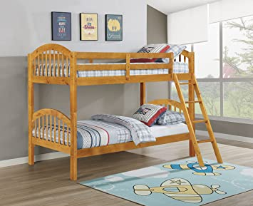 Amazon Com King S Brand Furniture Wood Arched Design Convertible Bunk Bed Twin Honey Finish Furniture Decor