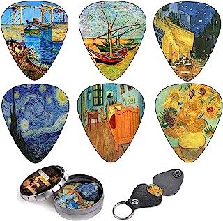 Vincent Van Gogh Guitar Picks Complete Gift Set For Guitarist. Celluloid Medium 12 Pack in A Tin Box + Picks Holder - Uniq...