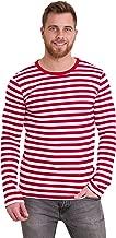 Run & Fly Mens 60's Retro Red & White Striped Long Sleeve T Shirt