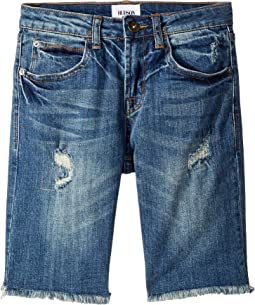 Hudson Kids Slim Straight Repaired Shorts in Heavy Destroyed (Big Kids)