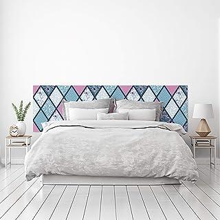 MEGADECOR Cabecero Cama PVC Decorativo Económico Diseño Rombos Estampados Azul Celeste y Rosa Varias Medidas (150 cm x 60 cm)