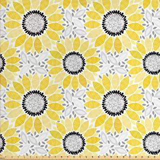 Lunarable Sunflower Fabric by The Yard, Abstract Shapes Floral Pattern Stripe Petals Summer Blossom Illustration, Decorative Fabric for Upholstery and Home Accents, 1 Yard, Yellow Black