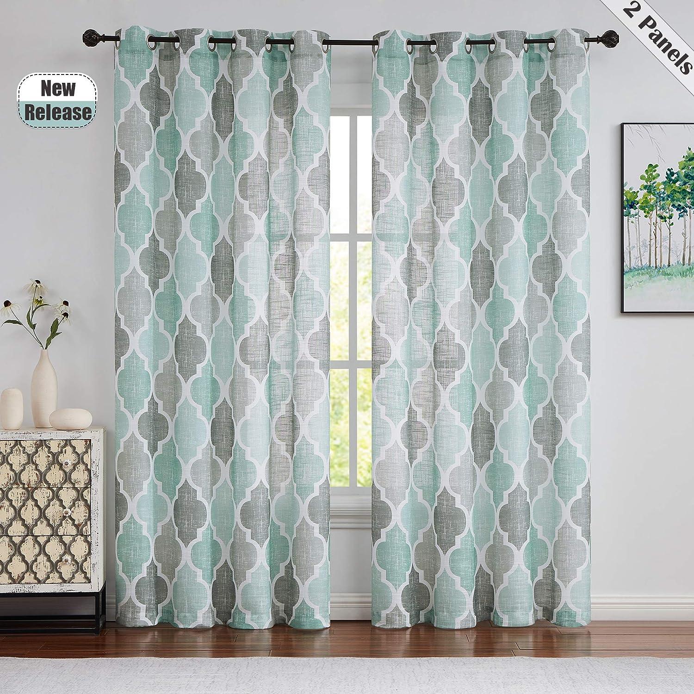 Beauoop Lattice Moroccan Tile Print 新着 95 お得セット Long Inches Curtains Quat