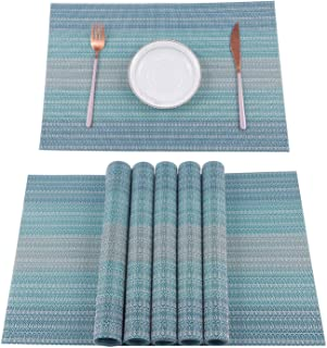 Excefore Home Pure Linen Placemats Chambray Teal Set of 6 Athena Pure Linen Natural Fabric Handcrafted Machine Washable We...