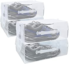FIXSMITH Clear Foldable Shoe Boxes- 4 Pack Women's Men's Stackable Shoe Storage Box Case with Carry Handle,Plastic Shoe Storage Container,Heavy Duty Transparent Shoe Containers.