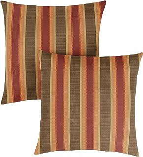 1101Design Sunbrella Dimone Sequoia Knife Edge Decorative Indoor/Outdoor Square Throw Pillow, Perfect for Patio Decor - Autumn Stripe 16