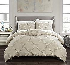 Chic Home Daya 8 Piece Duvet Cover Set Pinch Pleat Ruffled Design Embellished Zipper Closure Bedding - Sheets Decorative P...