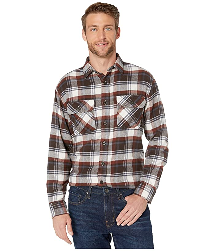 Brushed Flannel Shirt (Red/Brown/Navy Plaid) Men's Clothing