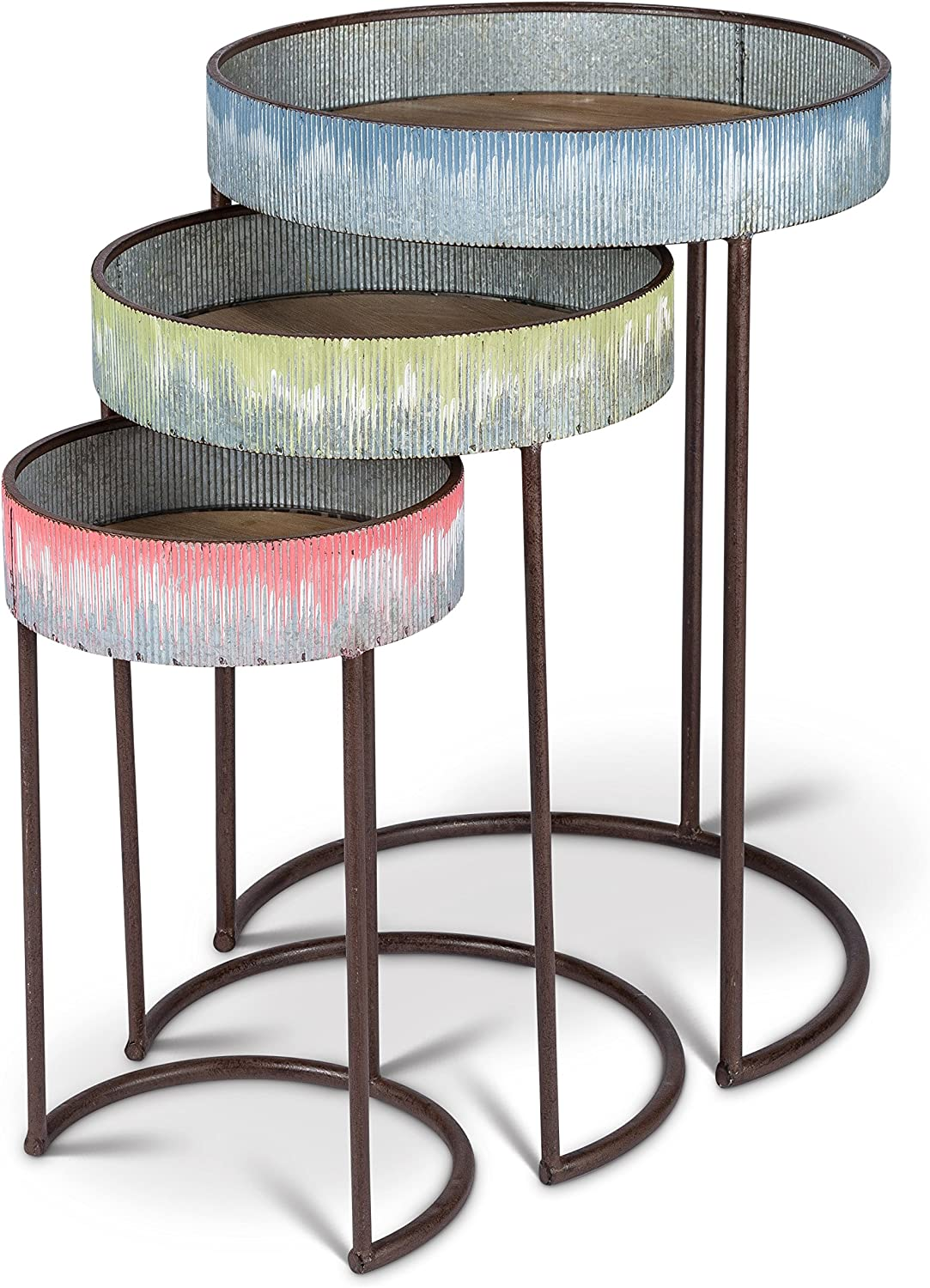 Lone Elm S 3 Drip Metal Side Tables, 19.75Inl x 19.75Inw x 27.6Inh