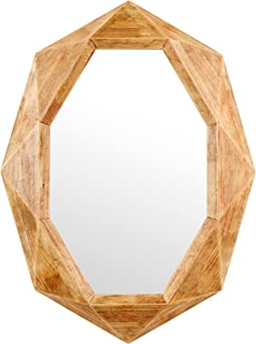 Amazon Brand – Rivet Modern Octagon Wood Frame Hanging Wall Mirror, 30.5 Inch Height, Natural