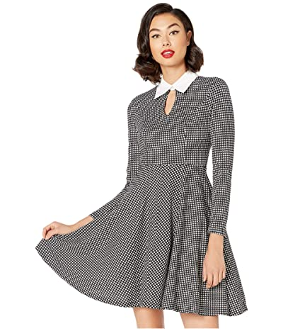 Unique Vintage Long Sleeved Wednesday Flare Dress (Black/White Houndstooth) Women