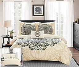 Chic Home Mindy 3 Piece Reversible Duvet Cover Set Large Scale Boho Inspired Medallion Paisley Print Design Bedding - Deco...