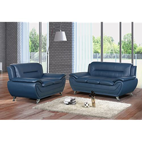 Pleasing Blue Leather Sofa Amazon Com Andrewgaddart Wooden Chair Designs For Living Room Andrewgaddartcom