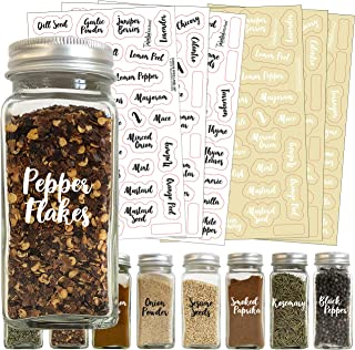 212 Black & White Cursive Script Spice Label Set by Talented Kitchen. The Most Common Spice Names in 2 Letter Colors on Clear Stickers. Preprinted Cursive Script Spice Labels for Spice Jars Waterproof