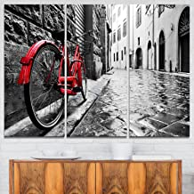 Retro Vintage Red Bike Cityscape Photo on Canvas Art Wall Photgraphy Artwork Print