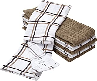 """6 Pack Large Kitchen Towel Set / 16"""" x 26"""" / 3 Windowpane Design + 3 Solid Color/Tan Yarn Dyed Cotton Hand Towels/Coordinating Tea Towel Sets/Long Lasting"""