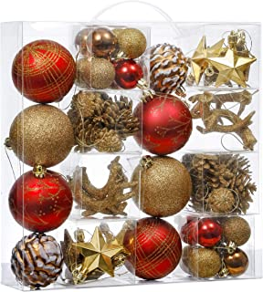 Valery Madelyn 50ct Woodland Shatterproof Christmas Ball Ornaments Decoration Red Brown, Themed with Tree Skirt(Not Included)