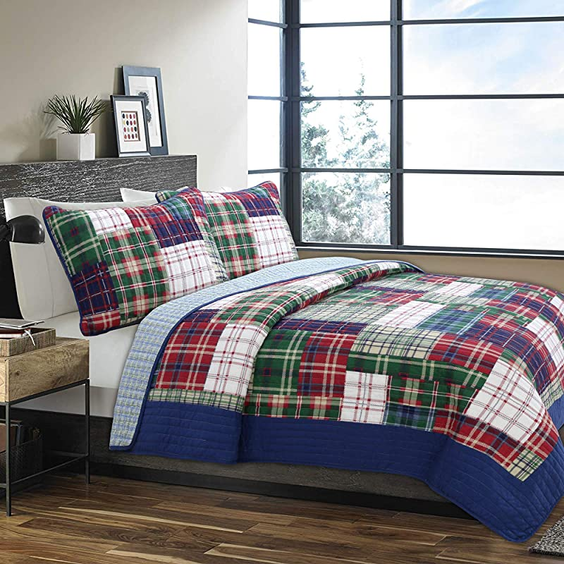 Cozy Line Home Fashions Nate Patchwork Navy Blue Green Red Plaid Cotton Quilt Bedding Set Reversible Coverlet Bedspread For Boy Men Him England Patchwork Queen 3 Piece