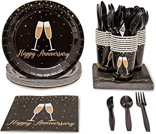 Blue Panda Happy Anniversary Party Supplies (Serves 24) Knives, Spoons, Forks, Paper Plates, Napkins, Cups