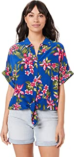 TOMMY HILFIGER Women's Viscose Tie Front Shirt, Tropical Mid 7 Col/Surf The Web