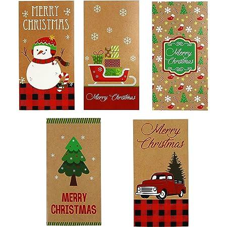 6 Gift Card Money Holders w// Envelopes Christmas Glitter for Kids Monkey Penguin