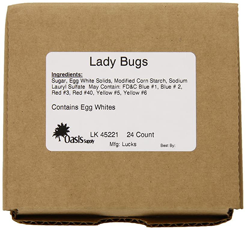 Oasis Supply Sugar Decorations, Lady-Bugs Sugar Decorations, 24 Count
