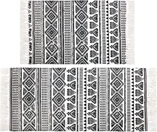 Pauwer Cotton Area Rug Set 2 Piece Washable Printed Cotton Rugs with Tassel Hand Woven Fringe Cotton Rug Runner for Kitche...