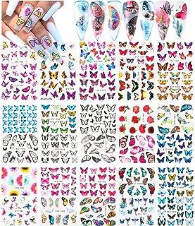 Le Fu Li 30 Sheets پروانه ناخن برچسب های هنری ناخن هنر ناخن برچسب انتقال آب با الگوهای گل پروانه نکات مانیکور T نکات ناخن DIY ناخن پا تزئینات هنر ناخن لوازم تزئینی