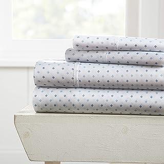 Becky Cameron Premium Ultra Soft Lily Pattern 4 Piece Bed Sheet Set, Queen, Navy