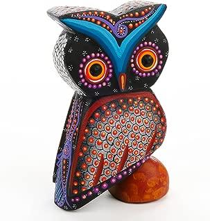 BEAUTIFUL BLACK OWL Oaxacan Alebrije Wood Carving Mexican Folk Art Animal Sculpture Painting