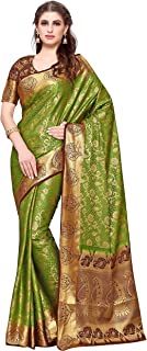 KUPINDA Kanjivaram Style Artificial Silk Saree Color : Olive 4164-260-2D-OLV-CHOC