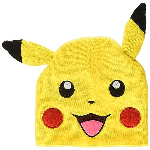 a57d35c11e64eb Pokemon BIOWORLD Pikachu Big Face Fleece Cap Beanie with Ears