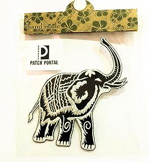 Patch Portal Thai Elephant Black and White Emblem Logo 5 Inches Vintage Animals Wildlife Thailand Style Embroidered Iron o...