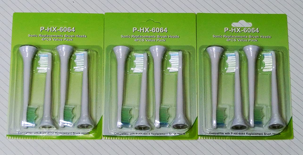 約設定ブローホールフェッチ【3パックセット】フィリップス ソニッケア対応電動歯ブラシ HX6064 4本入り x 3パック 計12本 PHILIPS sonicare 替ブラシ 互換ブラシ