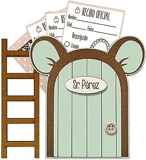 Puerta Ratoncito Pérez verde con escalerita y recibos oficiales 100% artesanal