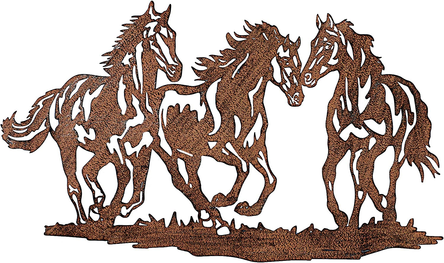 Galloping Wild Horse Trio Rustic Metal Wall Decoration Art for Home, Kitchen & Outdoors - Large Decor - Housewarming Modern Gift