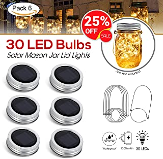 [Upgraded] Solar Mason Jar Lid Lights 30 LEDs - 1200mAh Battery | Outdoor Decor, Patio Garden Decor, Solar Lantern Table Light | 6-Pack Hangers and Lids String Fairy Firefly Lights/No Jars