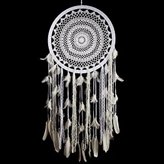 Caught Dreams Boho Dream Catcher ~ Extra Large Handmade Traditional Shape with White Cotton Crochet and Silver Wool Elements!