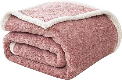 フィーナス 毛布 シングル 掛け毛布 二枚合わせ ブランケット 無地 フランネル シープ調 ボア 柔らかく肌触り 発熱 洗える ピンク 150×200cm