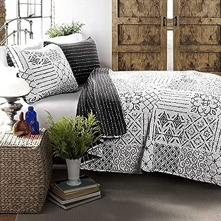 Lush Decor Monique 3 Piece Reversible Print Pattern Charcoal Quilt Set King