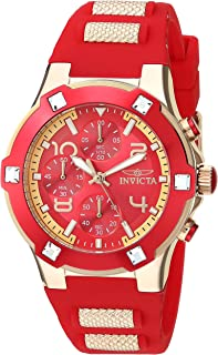 Invicta Womens BLU Gold Quartz Watch with Silicone Strap, red, 22 (Model:
