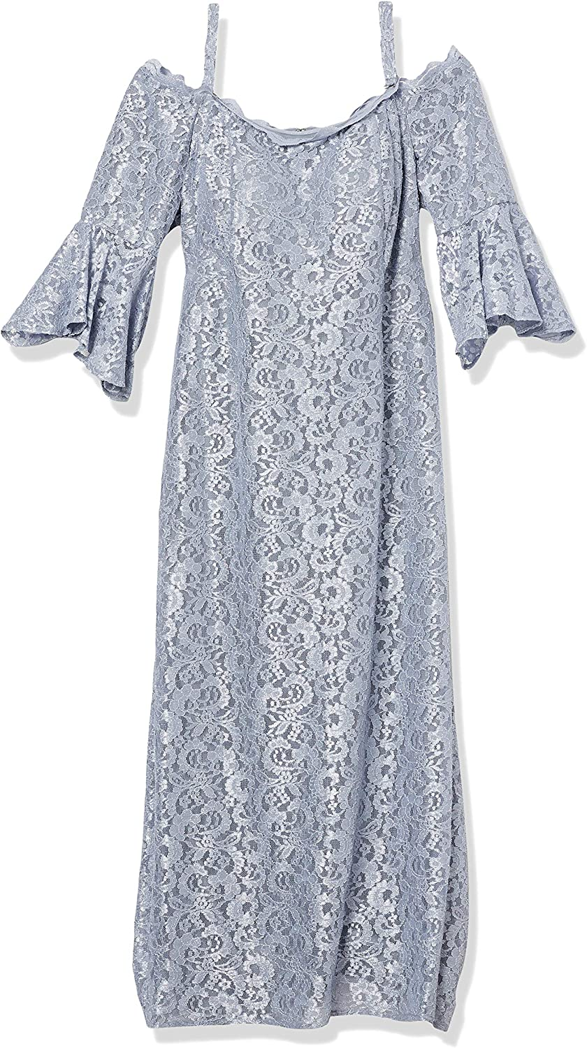 R&M Richards Women's Plus Size Missy One Piece Lace Fitted Bell Sleeve Dress