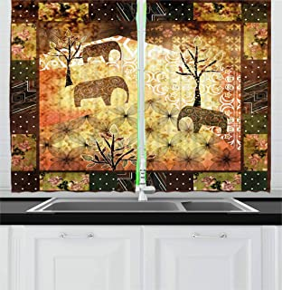 Ambesonne African Kitchen Curtains, Patchwork Inspired Pattern Grunge Vintage Featured Elephants Trees Roses Print, Window Drapes 2 Panel Set for Kitchen Caf鬠Multi 1, 55