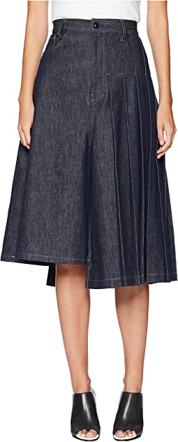 S-Asymmetry Pleats Denim Skirt